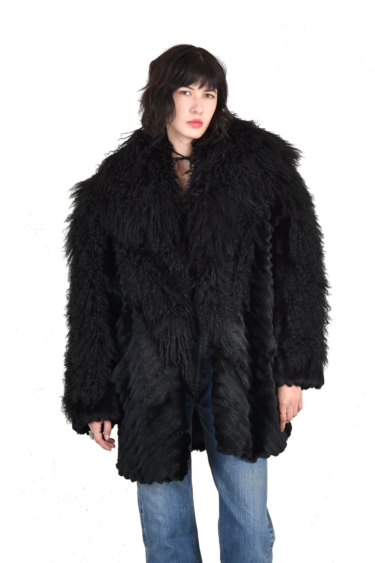 791b49fca1f71 Adolfo Super Shaggy Black Mongolian Lamb   Rabbit Fur Coat