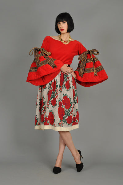 Adolfo 1960s Velvet Top w/ Quilted Bell Sleeves + Ribbons