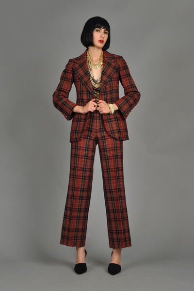 1970s Anne Klein Menswear Plaid Wool Suit