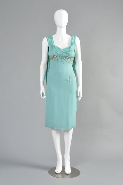 1960s Silk Chiffon Beaded Cape Dress