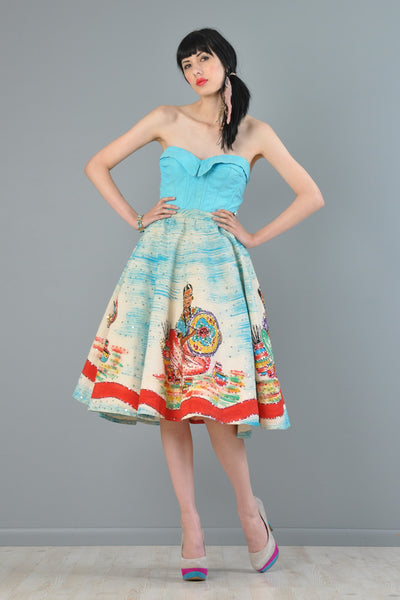 Hand Painted Mexican Circle Skirt + Bustier