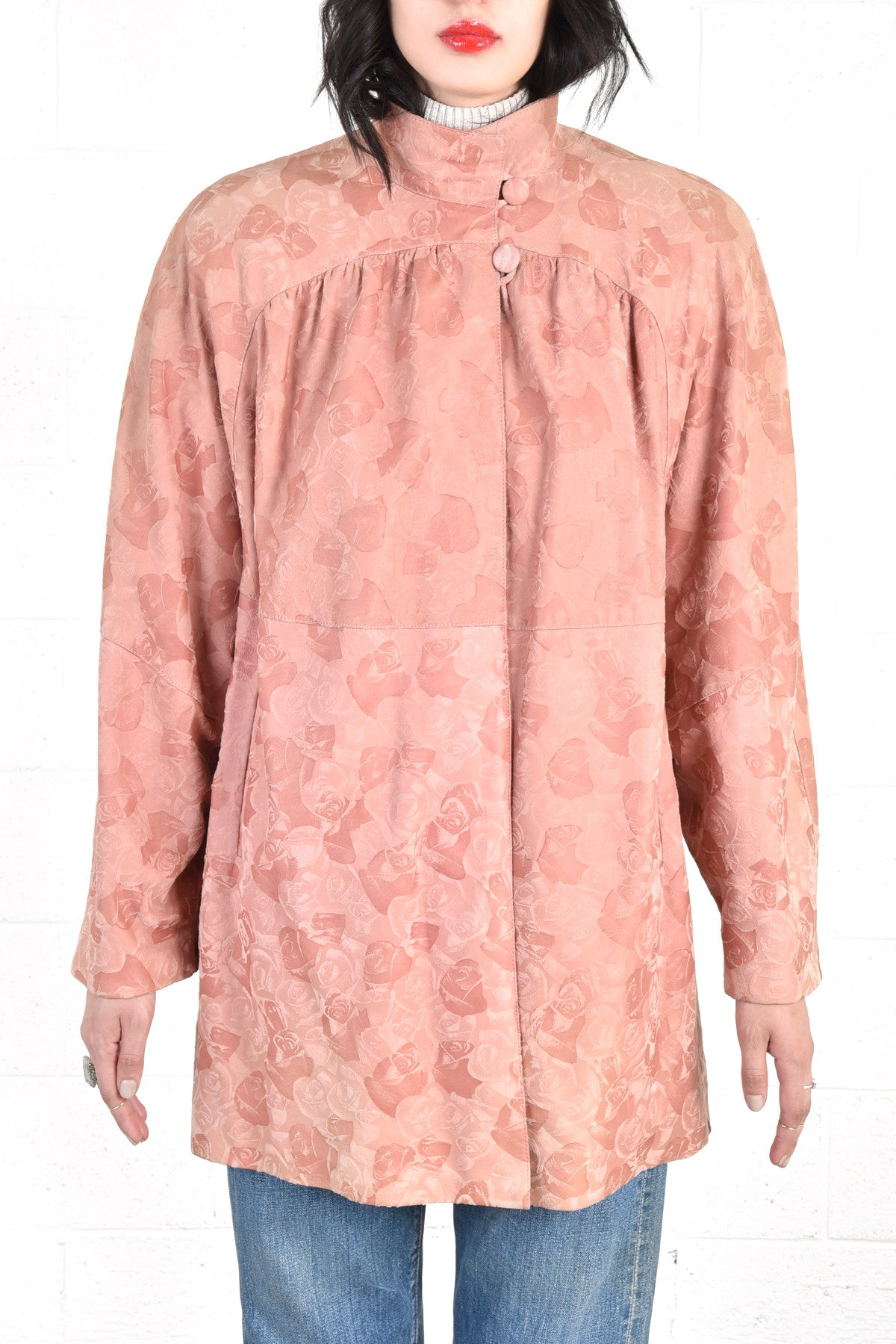Leather jacket with roses - Bally Dusty Rose Leather Jacket W Embossed Roses