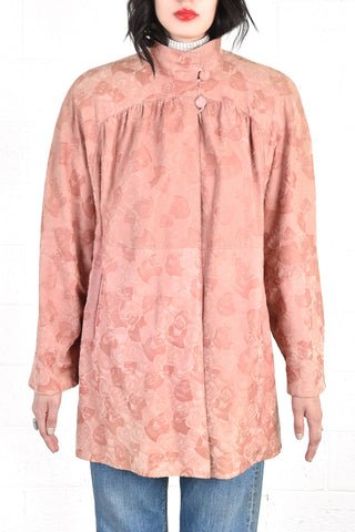 Bally Dusty Rose Leather Jacket w/Embossed Roses
