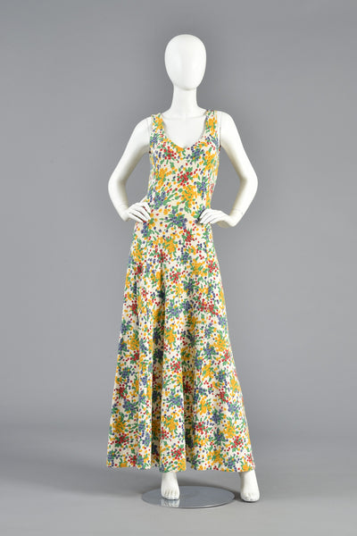 Betsey Johnson Backless Pointilist Floral Maxi Dress