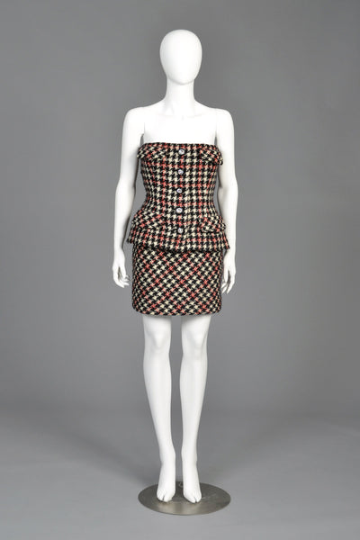 Bill Blass 80s Houndstooth Strapless Peplum Mini Dress