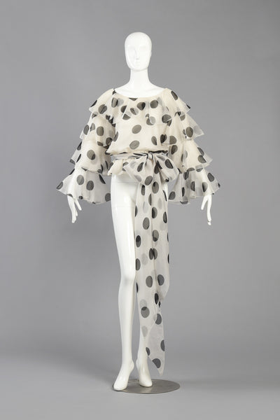 Monochrome Bill Blass Polkadot Silk Organza Blouse w/Ruffled Sleeves