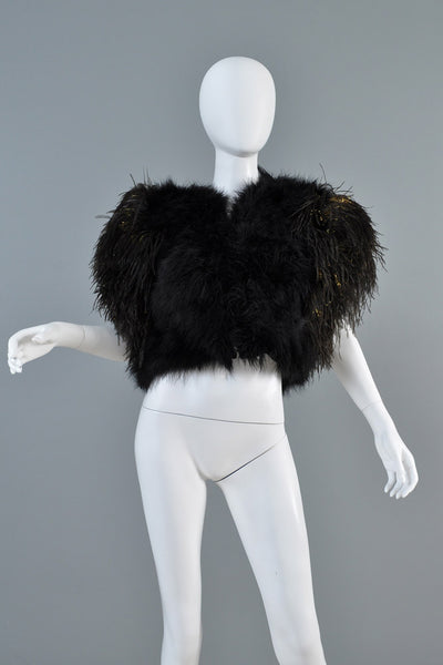 Bill Tice 1970s Metallic Ostrich Feather Bolero Jacket
