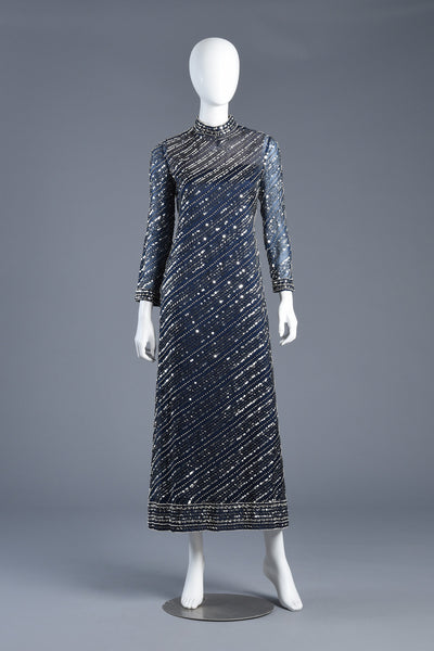 60s Bill Tice for Malcolm Starr Sheer Beaded Silk Evening Gown