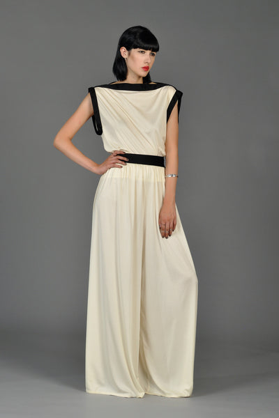 Bill Tice Ivory and Black Palazzo Pant Ensemble