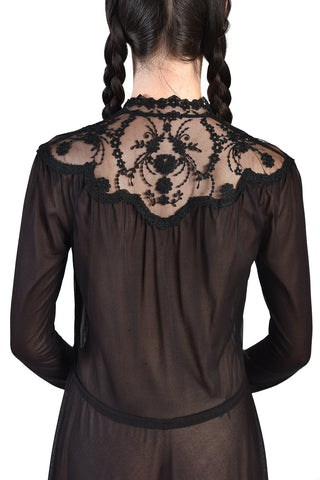 Evangeline 70s Sheer Black Lace Dress