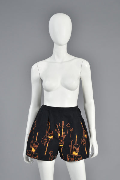 50s High Waist Shorts w/African Drum Novelty Print