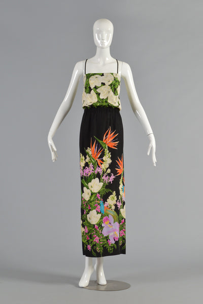 1970s Birds of Paradise Silk Maxi Dress