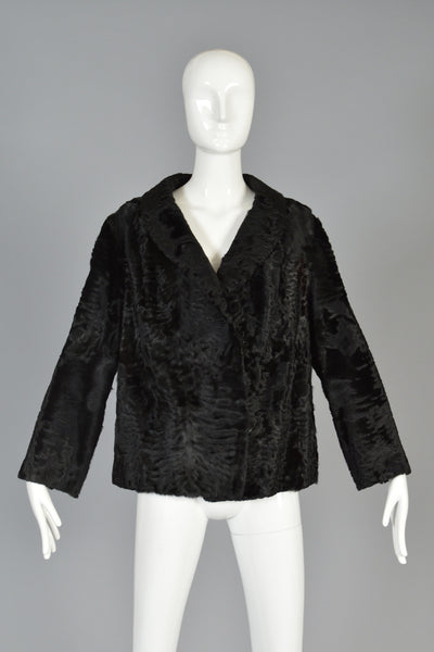 Luxe 1950s Cropped Broadtail Fur Jacket