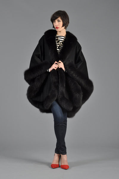 Black Cashmere + Fox Fur Cape