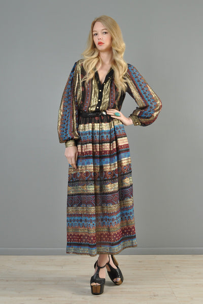 Metallic Silk Striped Indian Maxi Dress