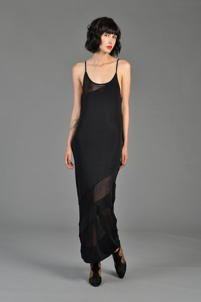Black Sheer Bias Panel Minimalist Maxi Gown