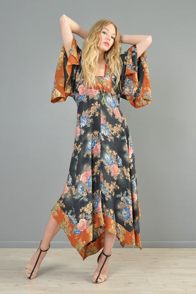 Bohemian 1970s Kimono-Sleeved Maxi Dress With Scarf Hem