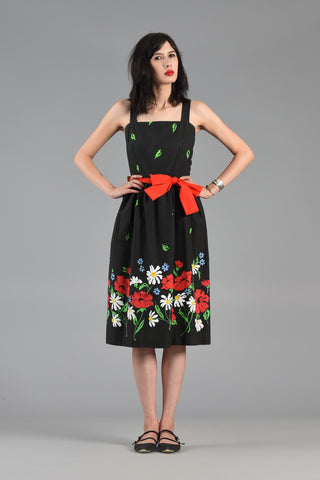 Cheerful 1980s Garden Dress with Cascading Florals