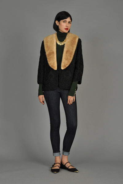 1960s Woven Ribbon Jacket w/Blonde Mink Collar
