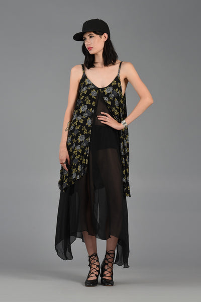 1990s Tiered Sheer Maxi Dress w/Florals