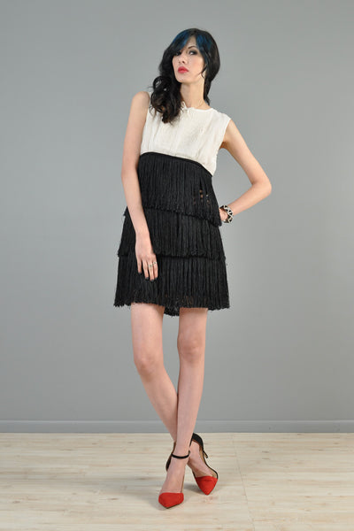 1960s Black + White Tiered Fringe Tuxedo Mini Dress