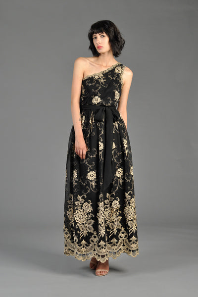 One-Shouldered 1970s Embroidered Maxi Dress
