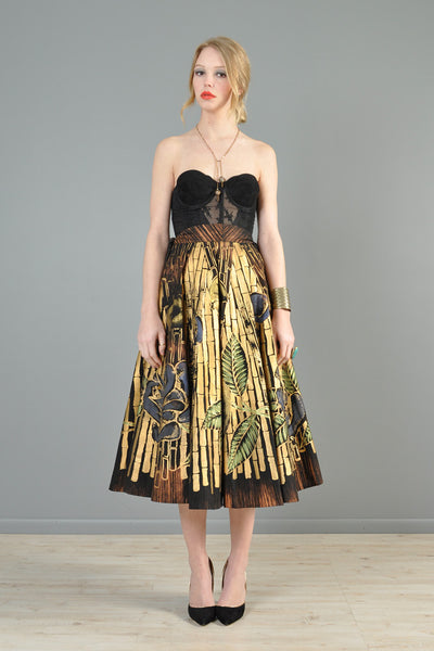 Hand Painted 1950s Metallic Gold Mexican Circle Skirt