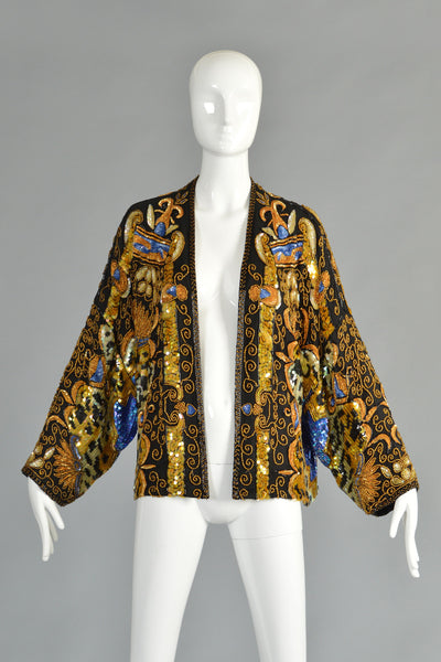 Luxe Sequin Encrusted Baroque Leopard Print Jacket