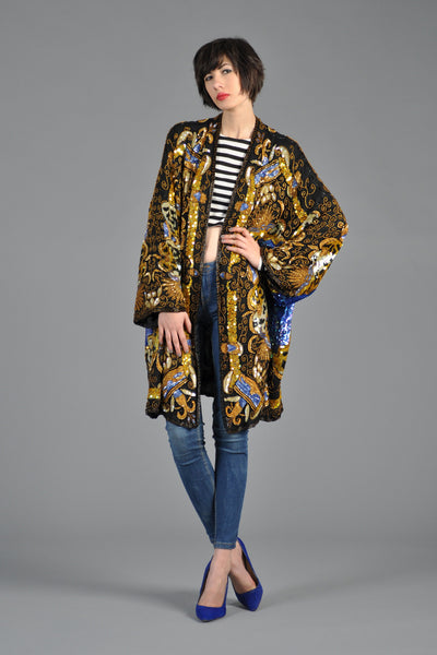 Luxe Baroque Sequin Leopard Trophy Jacket