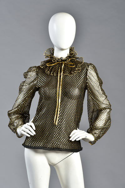 Kate Metallic Gold & Black Ruffled Mesh Blouse