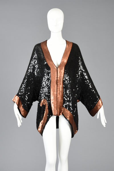 1980s Sequined Silk Kimono Jacket w/Panther Motif