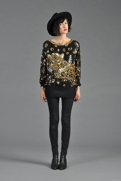 1980s Leopard Sequined Draped Top