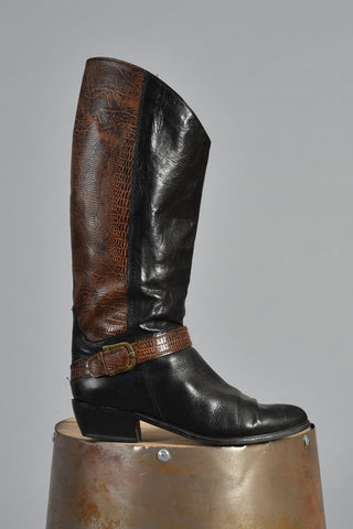 Black Brown Two-Tone Embossed Leather Boots 8.5