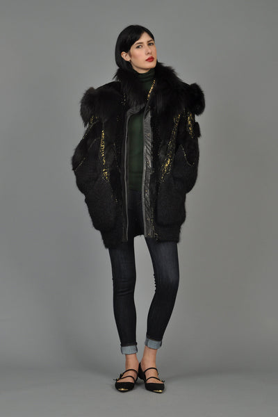 Hand-Painted Mohair Coat w/Leather + Fur Trim