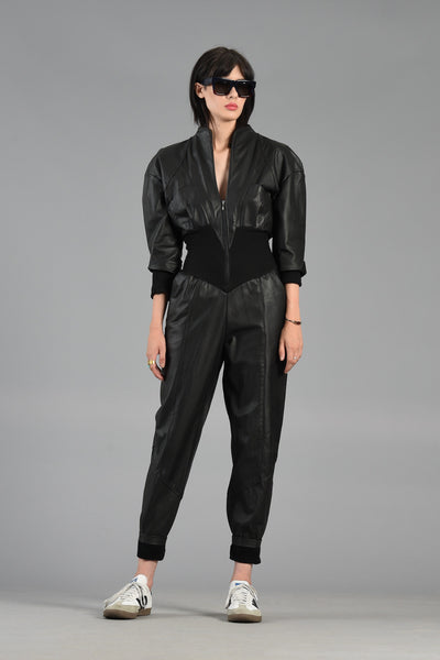 Badass 1980s Leather Jumpsuit w/Cutout Back