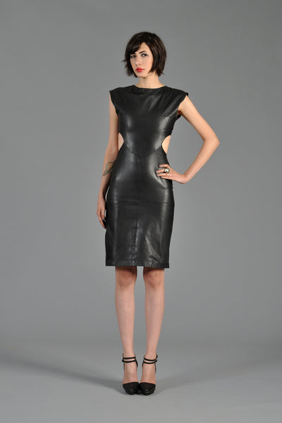 1980s Black Leather Cutout Dress With Buckles