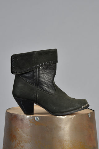 Folded Cuff Black Suede & Leather Ankle Boots 7.5