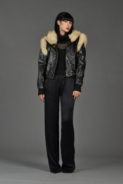 Fox Fur Shoulders Leather Biker Jacket