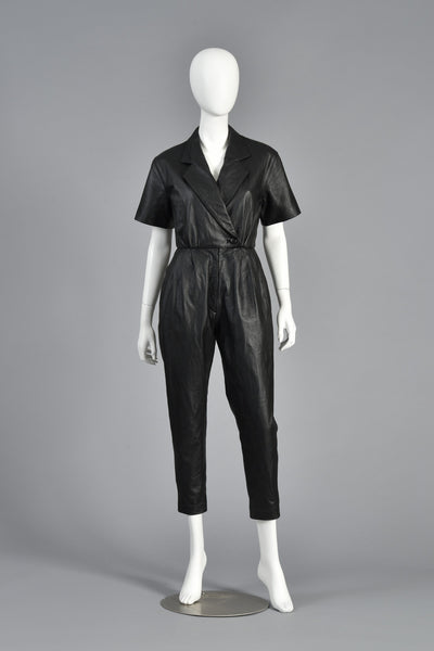 1980s Skinny Fitted Black Leather Jumpsuit