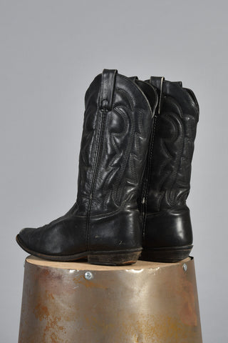 Black Leather Topstitch Embossed Cowboy Boots 8.5