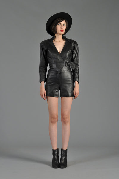 1980s Black Leather Mini Romper with Plunging Neck
