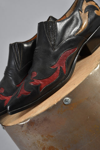Black Leather Western Booties With Rainbow Flames 9