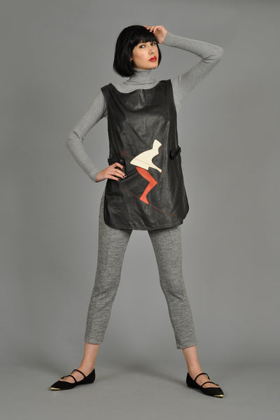 1960s Leather Tunic with Downhill Skiier