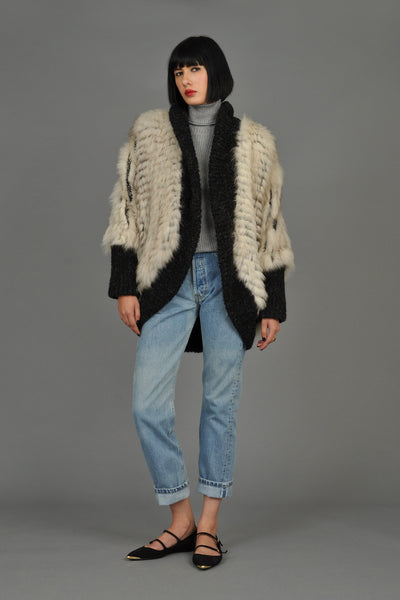 Reversible Knit Fox Fur + Mohair Cocoon Coat