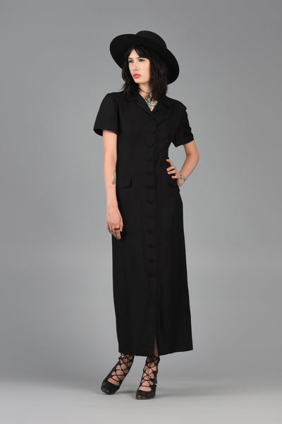 Black Button Front Minimalist Linen Maxi Dress
