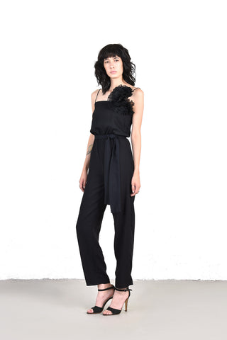 Carrie Black Minimal Jumpsuit w/the Biggest Flower