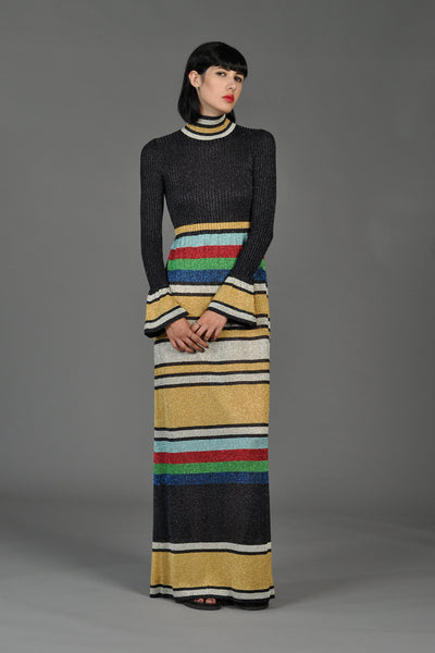 Metallic Rainbow Stripe Rib Knit Maxi Dress