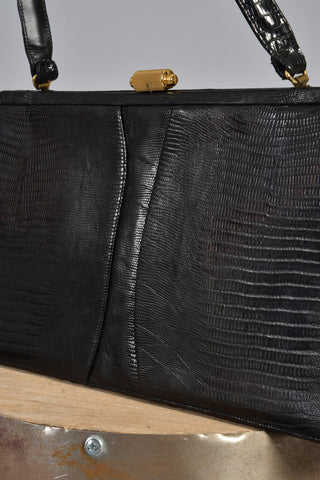 Massive 1960s Black Lizard Skin Handbag