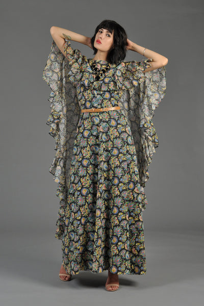 Bohemian Gauze Cape-Backed Maxi Gown
