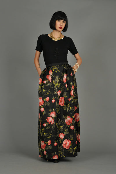 1960s Silk Maxi Pouf Skirt with Roses